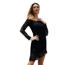 Autumn winter new temperament ladies dress skirt slim wrapped chest lace long-sleeved dress цена 2017