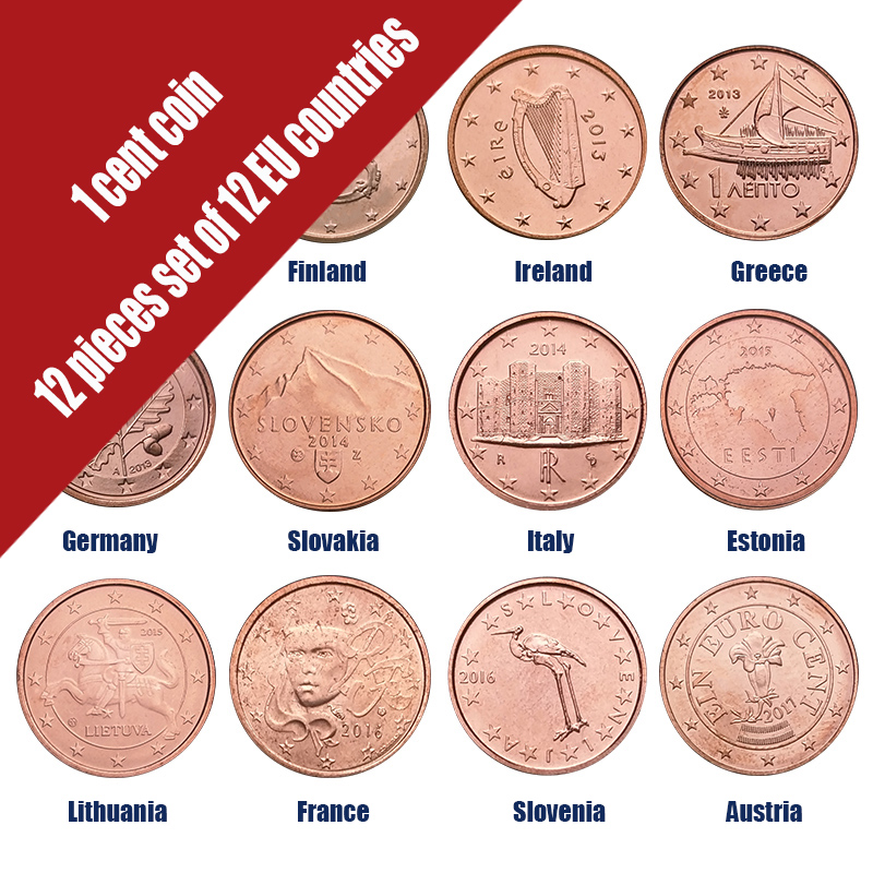 1 Cent Coin 12 Pieces Set Of Different EU Countries Europe New Original Coin Unc Genuine Coins