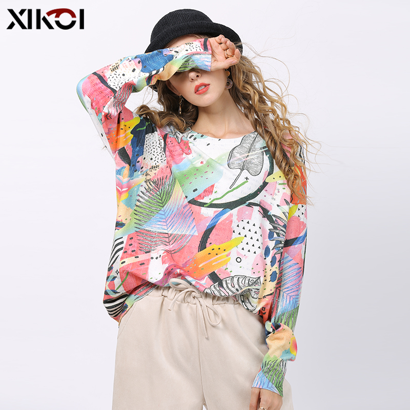 XIKOI Women Knitted Print Sweater Dress Long Sleeve Loose Kint Sweater Ladies Tops Pullover Winter Knitted Jumper Oversized Pull