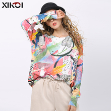 XIKOI Women Knitted Print Sweater Dress Long Sleev
