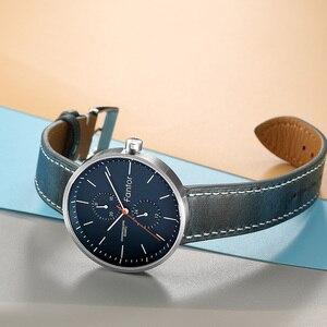 Fantor Business Men zegarek kwarcowy Slim cienkie, modne niebieska skóra zegarek człowiek nadgarstek Top marka Casual męskie zegarki zegarowe