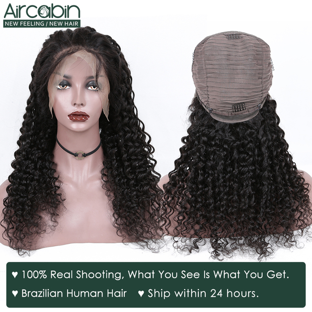 Aircabin 32 30 Inch 13×6 Deep Wave Lace Frontal Wigs For Black Women 150 Density Brazilian Human Hair Lace Closure Wigs Non-Remy