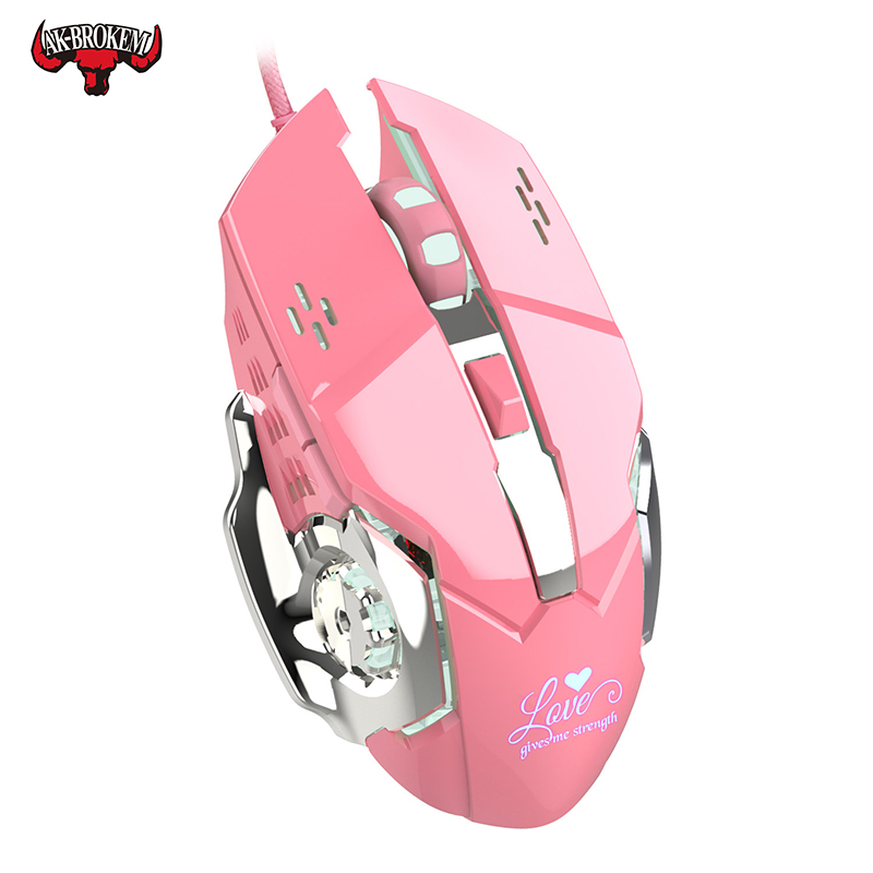 Pink Wired Gaming Mouse 3200DPI Adjustable USB Wired Mouse Professional-Grade Gamer Mice LED Backlight For Computer PC Laptop