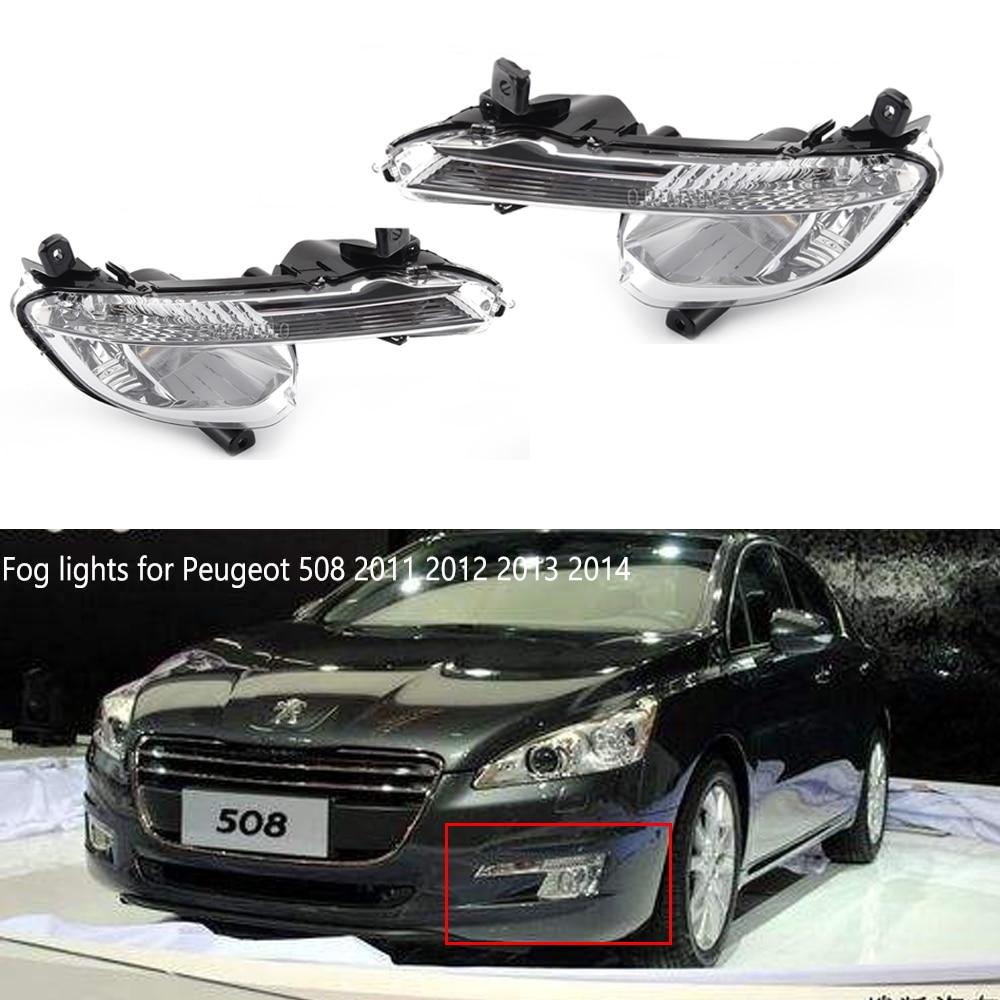 Front Bumper Fog Lights For Peugeot 508 2011 2012 2013 2014 Car-styling Fog Light Foglamp DRL Running Light Daytime Light
