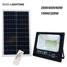 Светодиодные солнечные фонари Наружный прожектор с питанием от солнца 25 Вт 40 Вт 60 Вт 100 Вт 200 Вт BSOD Прожектор Белое освещение для сада Улица Гараж