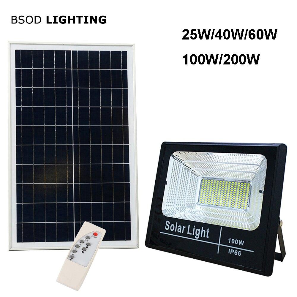 Diodo emissor de luz solar lâmpada de inundação 25 w 40 60 100 200 spotlight ip66 branco bsod auto lâmpada solar ao ar livre para jardim rua garagem