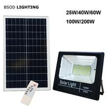 LED 태양 조명 야외 투광 조명등 태양 전원 25W 40W 60W 100W 200W BSOD 스포트라이트 정원 거리 차고에 대한 백색 조명
