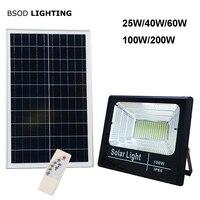 LED Solar Light Flood Light 25W 40W 60W 100W 200W Spotlight IP66 White BSOD Auto Solar Lamp Outdoor for Garden Street Garage