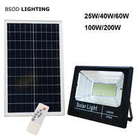 Luz Solar reflector 25W 40W 60W 100W 200W proyector IP66 blanco BSOD Auto LED Solar lámpara exterior para jardín calle garaje Park