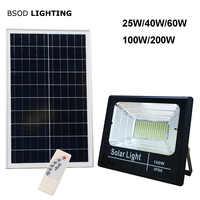 Reflector de luz Solar LED 25W 40W 60W 100W 200W foco IP66 blanco BSOD Auto lámpara Solar al aire libre para jardín calle garaje