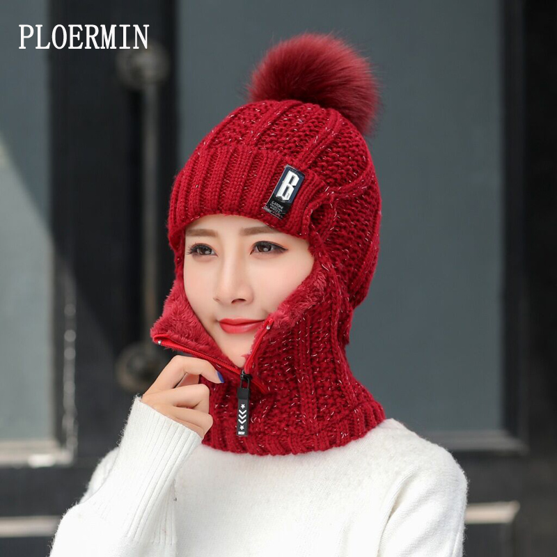 Women Wool Knitted Hat Ski Hat Sets For Female Windproof Winter Outdoor Knit Warm Thick Siamese Scarf Collar Warm Hat Girl Gift