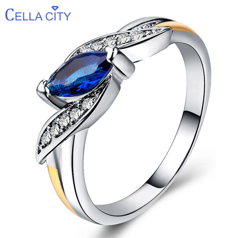Cellacity Trendy Silver 925 Jewelry Ring For Women Olive Shaped Gemstones Ruby Amethyst Emerald Sapphire Size6,7,8,9,10 Party