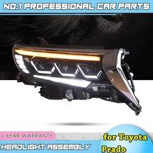 Akcesoria samochodowe do Toyota Prado pełne reflektory 2018 nowy Prado pełna dioda LED reflektor latarka czołowa LED DRL niskie światła drogowe wszystkie bi led