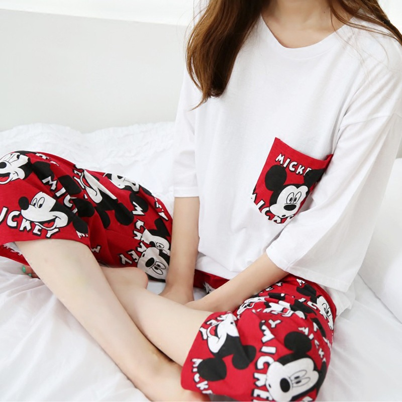 Two Pieces Short Sleeved Women Pajamas Sets Nightwear Home Suit Cartoons Sleepwear Leisure Clothes Personality Tops Pants NW56