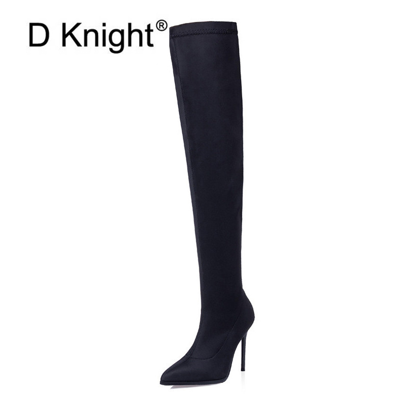 Womens Satin Pointed Toe High Heels Ankle Stretch Socks Boots Stilettos Shoes G4