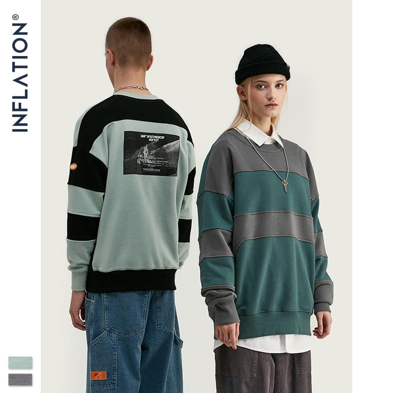 INFLATION DESIGN Men Sweatshirt With Contrast Raglan Sleeve Fleece Fabric Winter Men Loose Fit Sweatshirt Streetwear 9649W