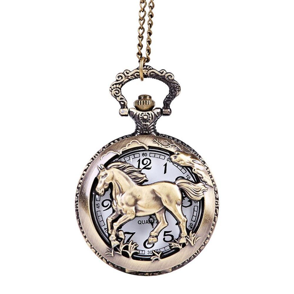 Антикварные карманные часы самые большие карманные часы ожерелье, подарок деда лошадь узор Ретро указатель Горячие карманные часы 03