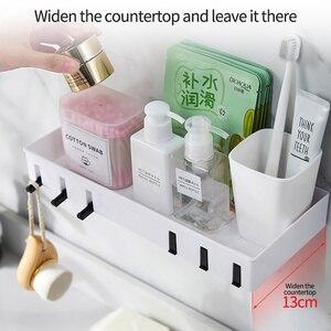 Image 3 - Wall mounted Bathroom Organizer Storage Shelf Household Items Bathroom Accessories Kitchen Plastic Rack Space Shelf Nail freel