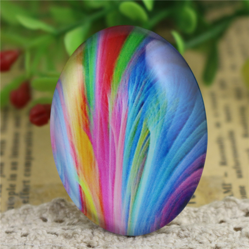 2pcs 30x40mm New Fashion Colors Handmade Photo Glass Cabochons Pattern Domed Jewelry Accessories Supplies