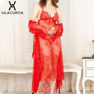 Image 2 - Lace See Through Sleepwear Women Sexy Robe Sets Long Robe Sleeveless Nightdress Thong 3 Piece Set Summer Women Sexy Night Dress