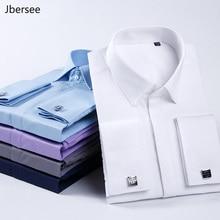 Мужская приталенная рубашка Jbersee, модная Повседневная рубашка с французскими манжетами и длинным рукавом, для свадебной вечеринки, размера плюс