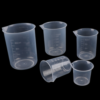 2Pcs 250ml/150ml/100ml/50ml/25ml Transparent Kitchen Laboratory Plastic Volumetric Beaker Measuring Cup image