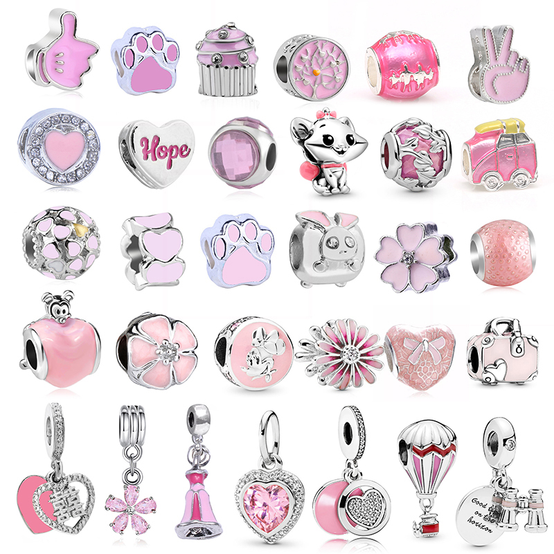 2Pcs/lot Special Offer Pink Enamel Flower HOPE Heart Charms Beads Pendant Fit Pandora Bracelets Necklaces For Women DIY Jewelry(China)