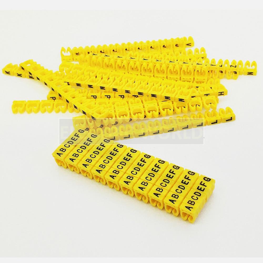 390 шт Бесплатная доставка нейлон PA66 обвязка-маркер для 1,5/2,5/4/6sqmm желтый Цветной alphabit A-Z каждый 15-10 шт отличить провода