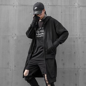 Men Autumn New Long Style Zipper Hooded Sweatshirt Coat Male Streetwear Hip Hop Punk Hoodie Jacket Outerwear