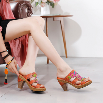 Spring / Summer 2020 New High Heels Women's Leather Print Ethnic Style European and American Fashion Sandals