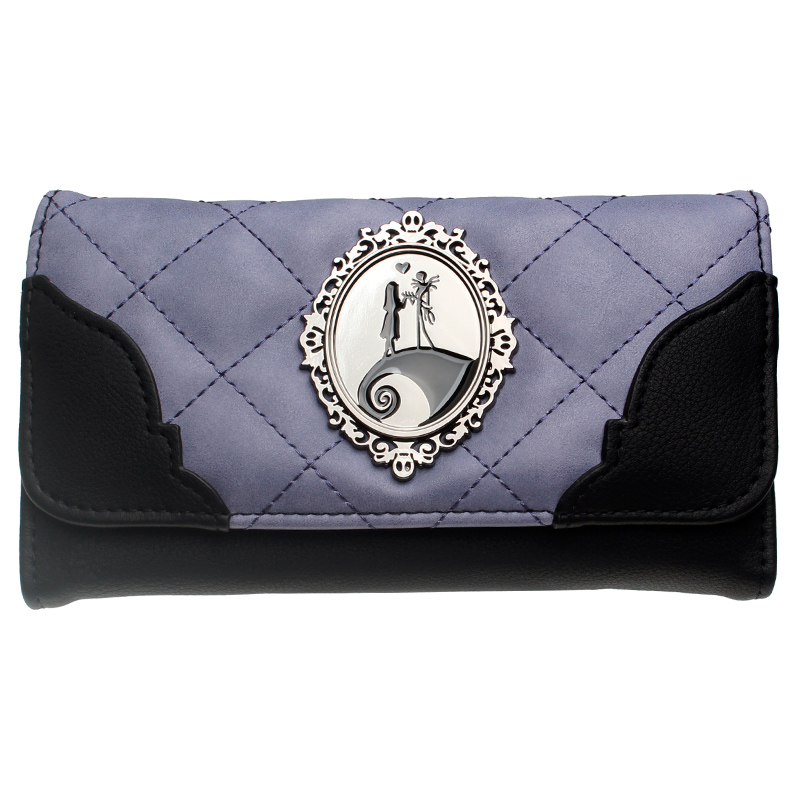 Jack And Sally Metal Badge Female  Wallets  Purple Quilted Women Purse Dft6019