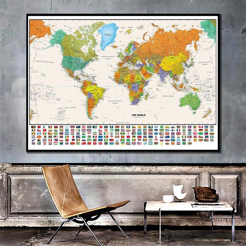 Карта мира с национальным флагом для образования и культуры, Нетканая карта мира с распылителем, 150x100 см, настенная наклейка, украшение