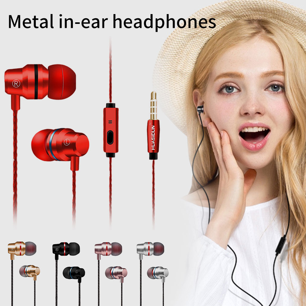 KISSCASE Wired Earbud Earphones <font><b>3</b></font>.5mm In Ear Earphone Earpiece With Mic Stereo Headset <font><b>5</b></font> Color For Samsung Xiaomi Phone Computer image