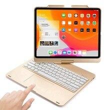 For iPad Pro 12.9 2018 2020 360 Degree Swivel LED RGB Backlight Wireless Bluetooth Russian/Spanish Trackpad Keyboard Case Cover