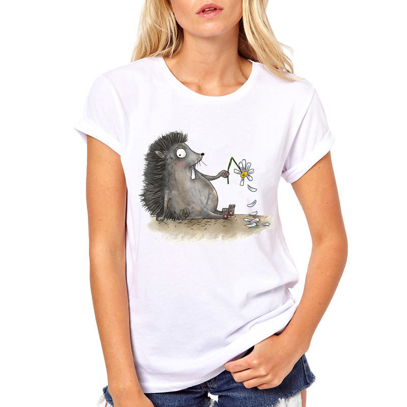 New 2019 Fashion Cute Hedgehog Printed Tshirt Women Kawaii Novelty T Shirt Summer Tops Short Sleeve O-neck Slim White Tee Shirt