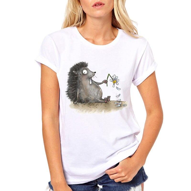 New 2019 Fashion Cute Hedgehog Printed Tshirt Women Kawaii Novelty T Shirt Summer Tops Short Sleeve O-neck Slim White Tee Shirt