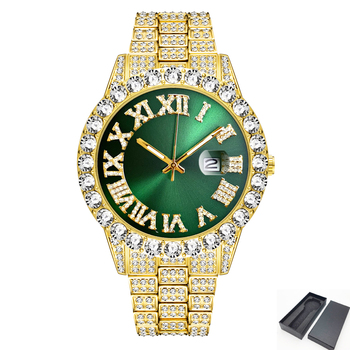 Fully Bling CZ Diamond Watches for Men Iced Out Colorful Dial Watch Man Luxury Men's Quartz Wristwatch Hip Hop Jewelry Clock New hip hop luxury mens iced out cz waterproof watches date quartz wrist watches with micropave alloy watch for men jewelry