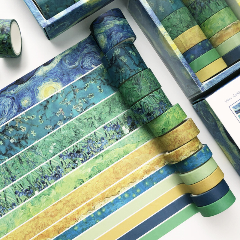 12pcs/box Van Gogh Impression Bullet Journal Washi Tape DIY Scrapbooking Sticker Label Vintage Masking Tape School Office Supply