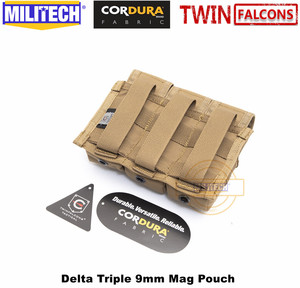 Image 2 - MILITECH TWINFALCONS TW 500D Delustered Cordura Molle Delta Triple 9mm Mag Molle Pouch Magazine Glock Pouch For Police Military