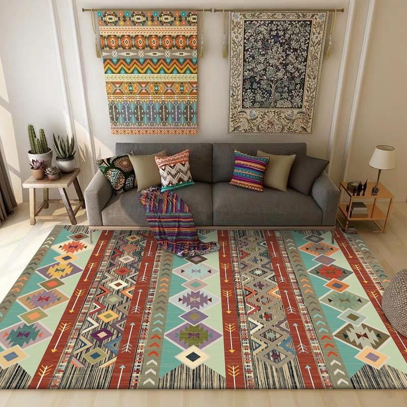 Vintage Bohemian Carpet And Rug Living Room Coffee Table Sofa Bedroom Bedside Non-Slip Floor Mat Home Kitchen Bathroom Carpets