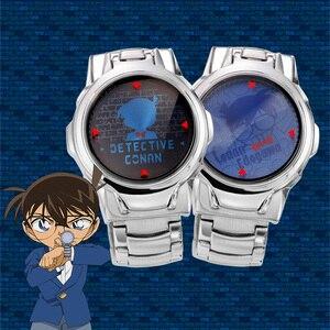 Image 2 - [Detective Conan] LASER Clamshell Anime Watch Waterproof Manga Role Watches Cosplay Cartoon Character Shinichi For Children Gift