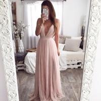 BacklakeGirls 2019 Sexy Deep V Neck Cross Criss Back Long Evening Dress Pink Tulle Elegant Long Prom Dress Robe De Soiree