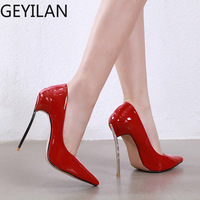 Mature Professional Women High Heels Basic Classic Pumps Sexy Pointed Toe Super High Shallow mouth Shoes Ladies Leather stiletto