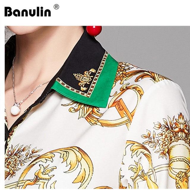 2019 Spring Autumn Design Womans Long-Sleeved Shirt Blouse High Quality Women Printed Office Runway Slim Shirts Tops M-2XL 5