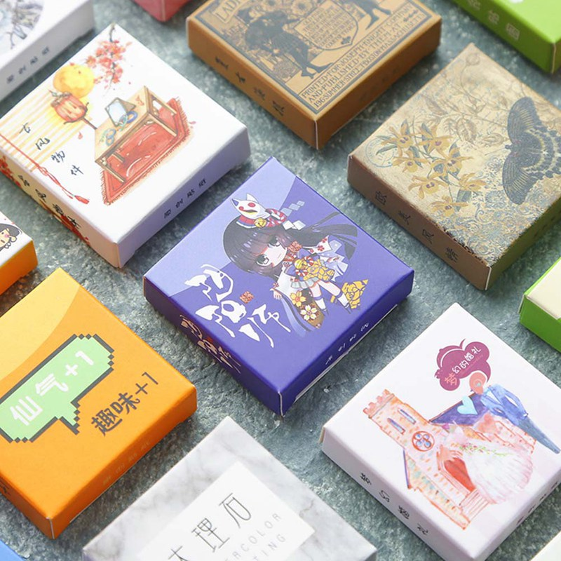 Cute Stickers Journal Custom Japanese Label Anime Flower Marble Vintage Human Stickers Scrapbooking Stationery