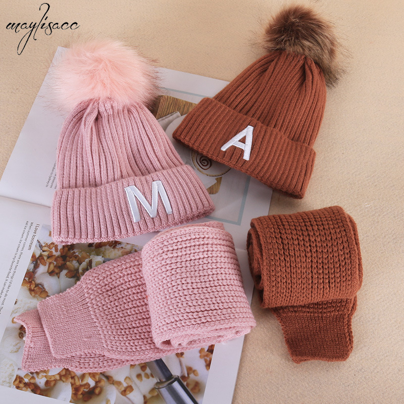 Maylisacc 2019 New Children's Warm Autumn Winter Hats And Scarf Set For 1-5 Years Old Kids Boys And Girls 2 Pcs Knitted Hat Set
