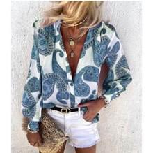 Jesień kobiety w stylu Vintage, w kwiaty drukuj bluzka koszule nowe eleganckie głębokie topy urząd Lady Casual Loose