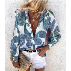 Autumn Women Vintage Floral Print Blouse Shirts New Elegant Deep Tops Office Lady Casual Loose
