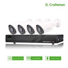 4ch 4K POE 키트 시스템 CCTV 보안 소니 IMAX415 H.265 8ch NVR 야외 방수 오디오 IP 카메라 감시 알람 비디오 p2p