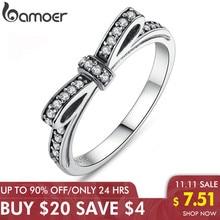 BAMOER חמה 925 סטרלינג כסף נוצץ קשת קשר Stackable טבעת מיקרו פייב CZ לנשים האהבה מתנת יום תכשיטים PA7104